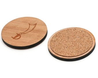 Pirate Sword Wooden Coasters Set of 4, Gifts For Him, Wedding Gifts, Groomsman Gifts, and Personalized
