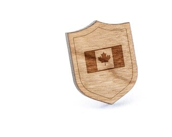 Canadian Flag Trailer Lapel Pin, Wooden Pin, Wooden Lapel, Gift For Him or Her, Wedding Gifts, Groomsman Gifts, and Personalized