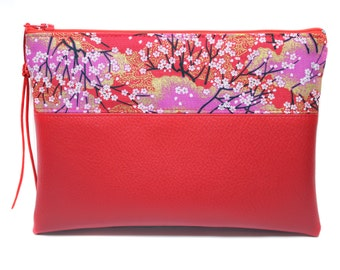 Kit red makeup in faux leather and Japanese fabric