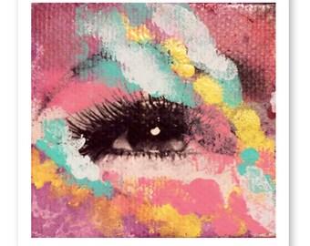 Collage Print, Mixed Media Collage Art, Giclee Fine Art Print, Eye Print