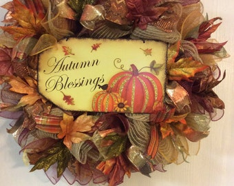 Fall Wreath-Autumn Wreath-Turkey Wreath-Thanksgiving Wreath