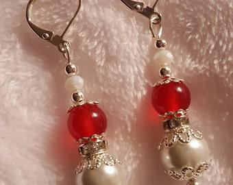 Swarovski 10mm white pearl, red ruby earring