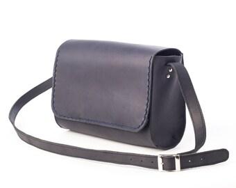 Blue Leather Shoulder Bag, Blue Leather, Woman Shoulder Bag
