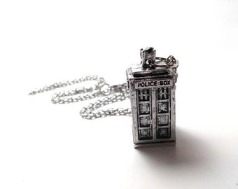 Doctor Who Tardis Silver and Crystal Necklace