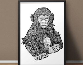 Chimp A3 Print Limited Edition Artwork