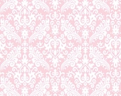 Riley Blake Hollywood Medium Damask, White on Baby Pink, fabric by the yard