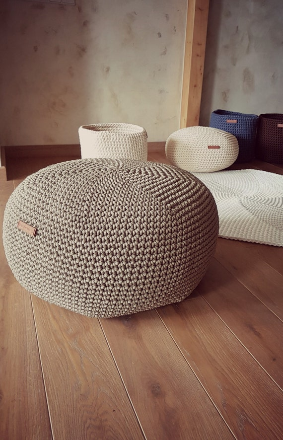 Olive Pouf Footstool Pouf Bean Bag Chairs Crochet Floor