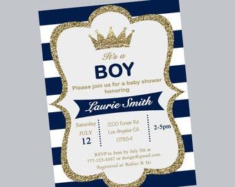 baby shower invitation, prince shower invite, blue and white shower invitation, boy baby shower invites , prince crown baby shower invites