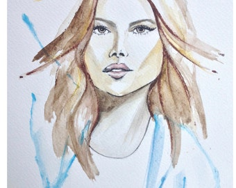 Watercolour Fashion Illustration Titled Lady Kate with Free Shipping Standard Delivery, Print