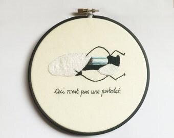 """Portal Gun 6"""" Embroidery Hoop Ceci N'est Pas Une Pistolet Treachery of Images"""