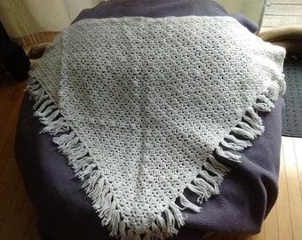 White crochet granny shawl really 70's
