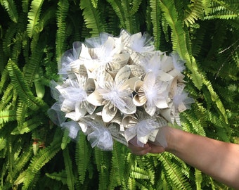 Wedding Bouquet, *Ready to Ship*, Book Page, Origami Bouquet, Paper Flowers, Origami Flowers, Kusudama