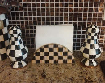 Ceramic Napkin Holder made with MacKenzie Childs Courtly Check, Parchment Check, Christmas Courtly Check