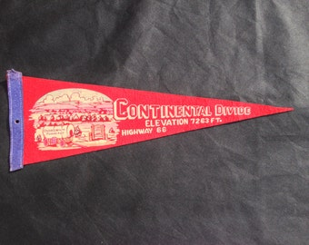 Vintage 1940s felt pennant - Continental Divide, Elevation 7263 Ft., Highway 66