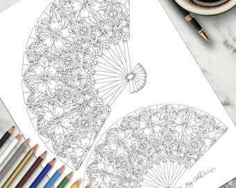 Adult Colouring Page Japanese Fans
