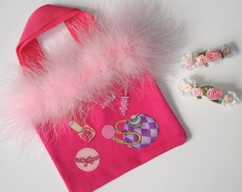Girls Hot Pink Canvas Tote Bag Girly Girl Appliques Two Rosebud Barrettes Feather Boa Trim