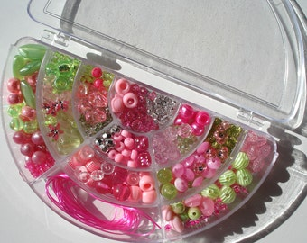 Bead Kit Watermelon Colors Acrylic Beads Hinged Half Moon Shaped Plastic Box Stretch Cord
