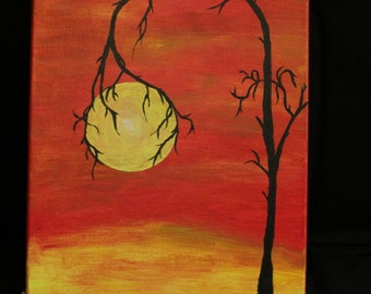 Canvas Painting-- Tree Holding Sun