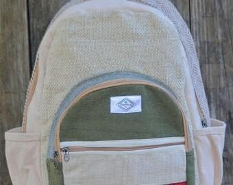 Classic Green Hemp; au naturale handmade backpack