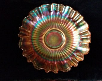 Carnival Glass Iridescent Ruffled Art Glass Bowl