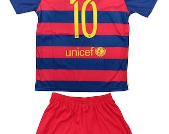 A Set RedBaecelona #10 Messi Soccer Jersey 15-16 Sizes 22,24,26,28
