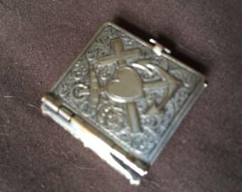 Vintage Very Old Silver Locket Book Charm.