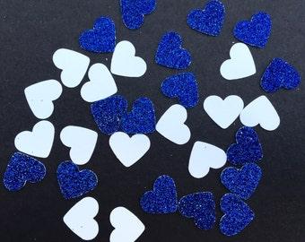 200  Blue and White Heart Confetti Heart Confetti Glitter Confetti Bridal Shower Confetti Wedding Confetti Anniversary Confetti Birthday