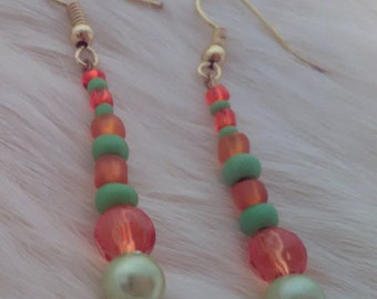 Green and Orange drop earrings