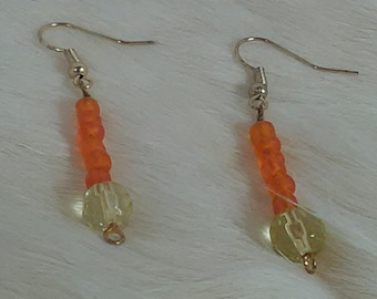 Orange and lime green earrings
