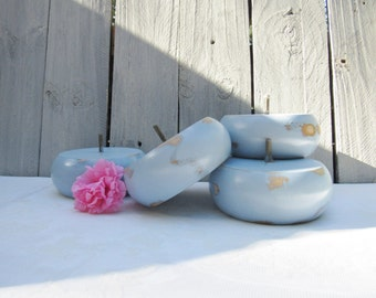 Shabby Chic Furniture Feet, 4 Louis Blue Bun Feet, Coastal Cottage Beachy Blue Couch Feet, Cottage Chic Furniture Bun Feet, Furniture Legs