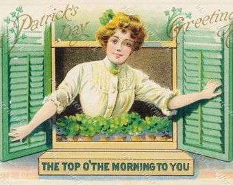 Instant Download: St. Patrick's Day Vintage Postcard - Top O' the Morning to You - Victorian woman. shamrock plants