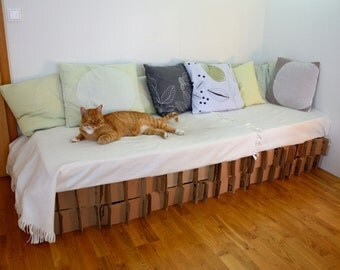 Cardboard bed base - Bed or couch or sofa base made from reclaimed corrugated cardboard - Recycling - Upcycling - Handmade in Iceland