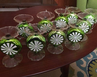 Vintage Glass Green Peppermint Christmas Tree Ornaments Set of 10