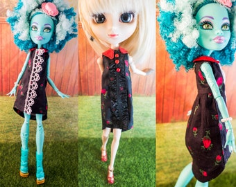 Elegant High-low Shirt Dress with belt Monster High Pullip Blythe Dal Barbie Dal Pure Neemo Jdoll doll clothes curvy