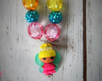 La La Loopsy Inspired Fairy beaded chunky Bubblegum necklace party favor Ball and Chain
