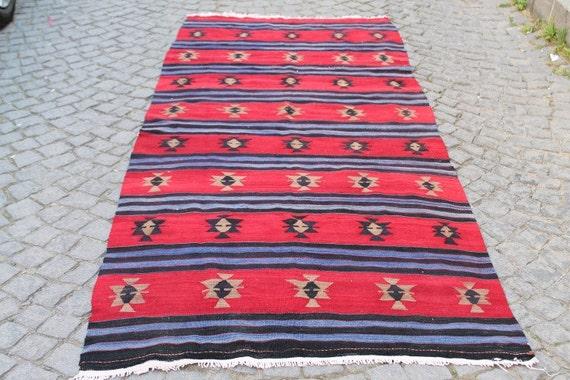 Turkish  Kilim Rug 108.26''x49.21'' Anatolian Kilim Rug,Vintage Kilim Rug,Handmade Kilim Rug