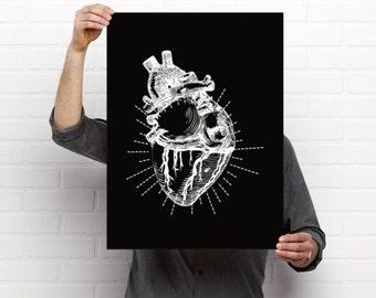 Poster Printable, Digital Download Art, Instant Download, Digital Art Print, Black & White, Heart, Love Art Print, Gothic Art, 18x24, 24x36