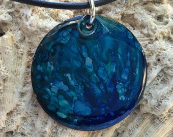 Alcohol Ink  Two Tone Blue Necklace