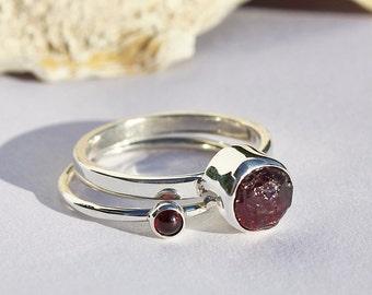 Garnet stacking rings, sterling silver, cabochon garnet, rough garnet, ring