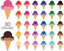 Ice Cream Clipart, Ice Cream Clip Art, Colorful Ice Cream Clipart, Rainbow Ice Cream Clipart, Digital Ice Cream, Ice-Cream Cone Clipart