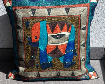 "Shangaan Embroidery cushion cover 45x45cm (18x18"") Elephant"
