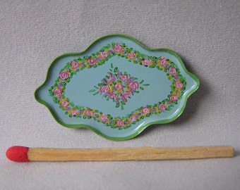 Hand-Painted Dollshouse Tray - Small Pale Blue with Green Trim