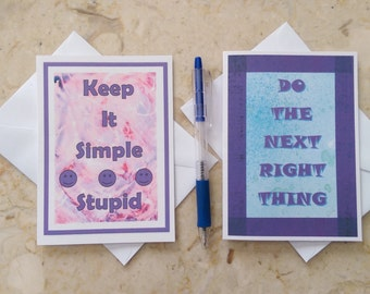 12 Step Cards, Recovery Encouragement Cards, Sobriety Cards, Addiction Recovery & Sobriety Cards, Keep It Simple Card, Next Right Thing Card