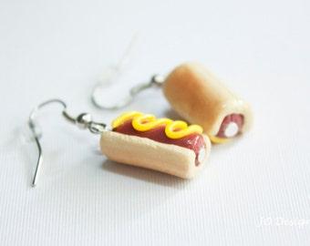 Food Earrings, Miniature Food, Polymer Earrings, Polymer Food, Hot Dog Earrings, Polymer Clay Charms