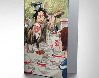 Painting book  ALICE WONDERLAND carrol  mad hatter greetings CARD CP2007