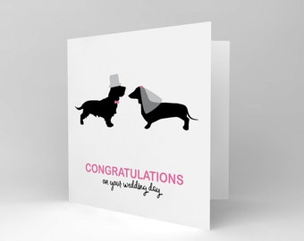 Greetings Card Birthday Gift Wedding Silhouette Veil Dogs CS1882