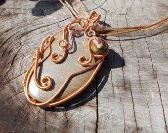 Brown Pebble Necklace/Wire Wrapped Necklace/Handmade Wire Necklace/Giant Pendant from Pebble