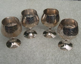 4 Wine Goblets - Silver Plated/EPNS - Beautiful Etched Design - Distressed/Worn/Shabby Chic - Vintage Silverplate