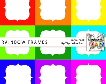 Rainbow (9 Frames) Digital Frames for Scrapbooking / Backgrounds for Personal and Commercial use
