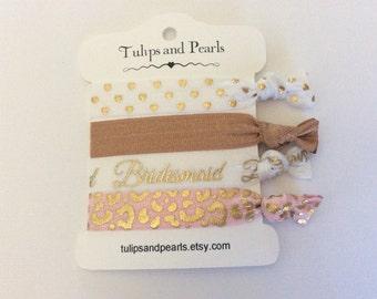 Bridesmaid gift,  pink and natural,  FOE 5/8 elastic crease less hair ties